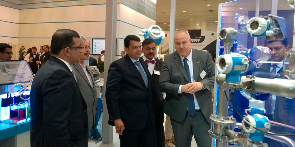 Chief Minister Devendra Fadnavis calls at Endress+Hauser's stand